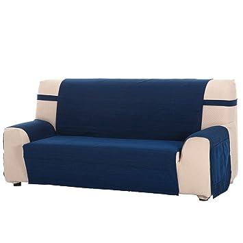 Funda Cubre Sofá Modelo Darsena, Color Azul, Medida 3 Plazas – 170cm de Respaldo