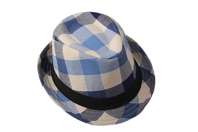 Amazon.com  Dantiya Kids  Little Boys Plaid Cotton Fedoras Hat Cap ... 8103691990c