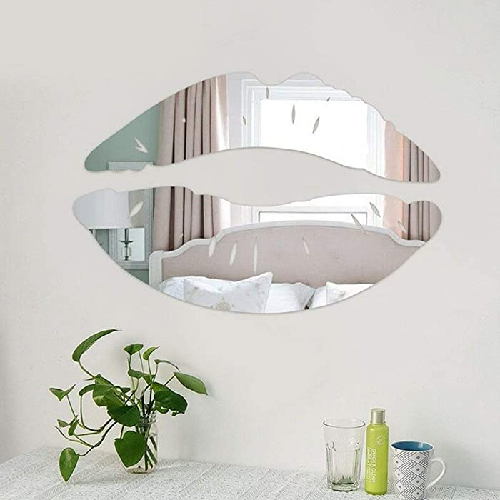 CUGBO 2 Set 3D Kiss Lips Mirror Wall Stickers Acrylic DIY Art Decals Home Room Decor (Silver)