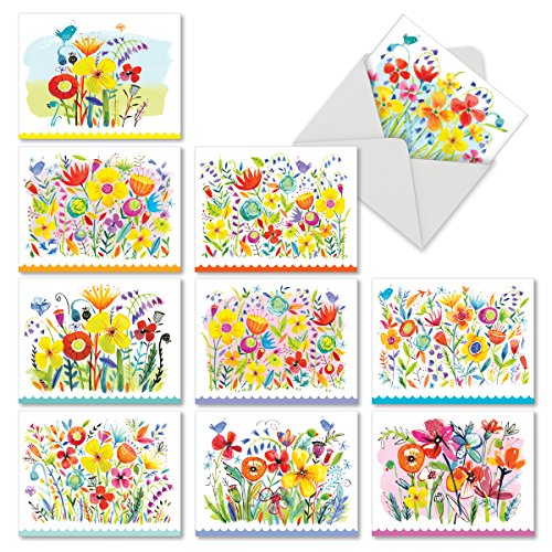M6562OCB Garden Delights: 10 Assorted Blank All-Occasion Note Cards Featuring a Densely Filled Garden of Gorgeous Watercolor Flowers, w/White Envelopes.