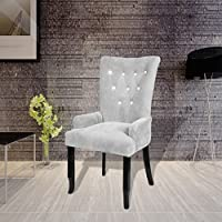 SKB Family Luxury Armchair Velvet-coated Silver English Style Seat