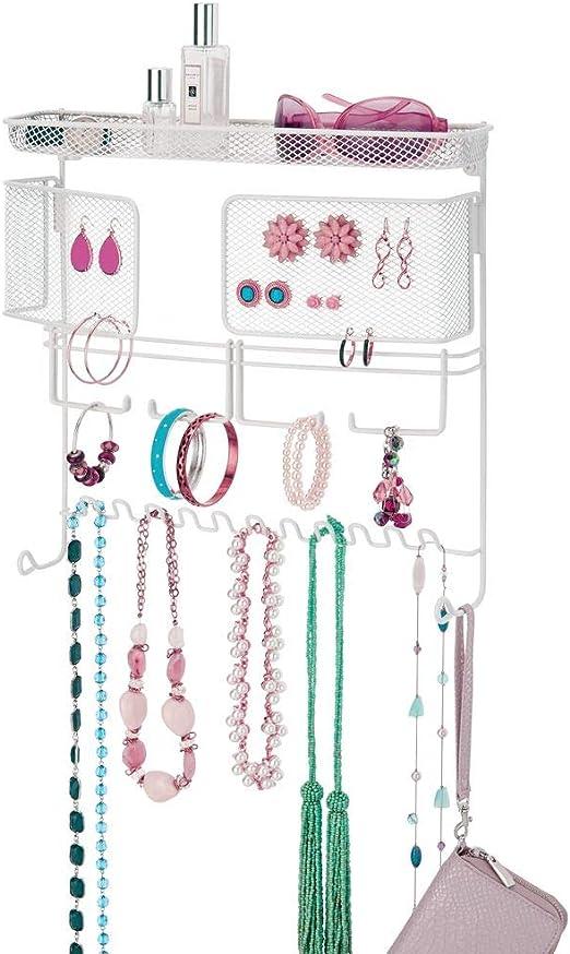 Colgador ideal para colgar collares o pulseras y organizar bisuter/ía blanco El perfecto joyero organizador para pendientes y otros accesorios mDesign Colgador de joyas