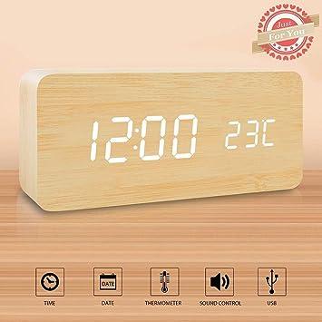 Wuudi Reloj despertador LED de madera, Cubo de madera Escritorio digital Despertador con alimentación dual, Control por voz, Hora / Fecha / Temperatura: ...