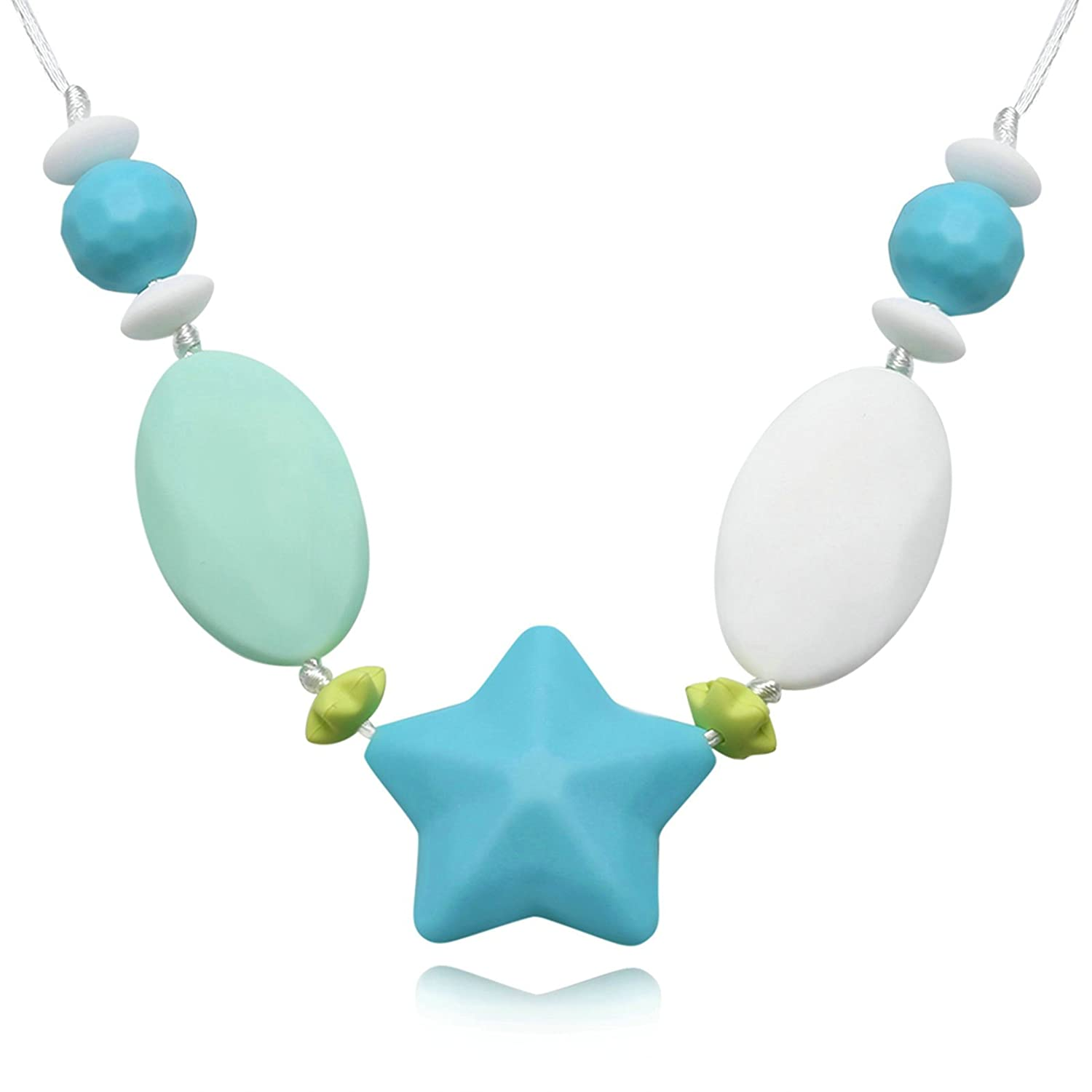 Aooaz Baby Teething Necklace Chew Necklace For Mother Mom Chain Silicone Star Design Green Chain 80Cm