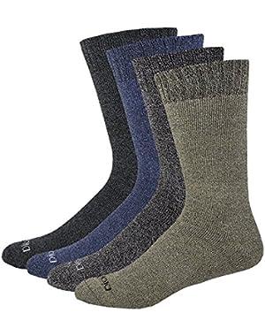 Men's All Season Marled Moisture Control Crew Socks, 4 Pair