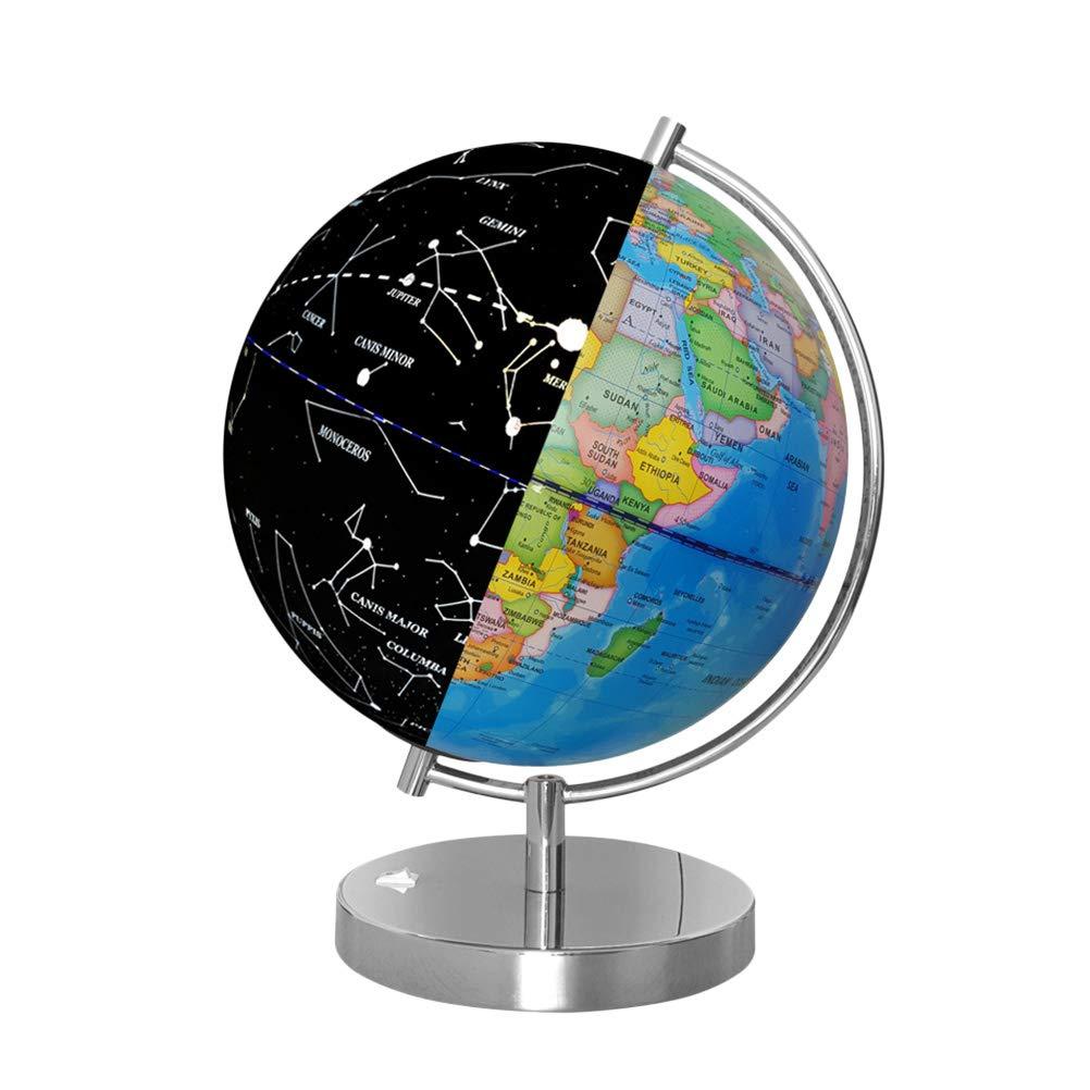 Toyvian Beleuchteter Weltglobus mit Ständer Desktop Politischer Globus für Kinder und Lehrer Englische Version (Blau)