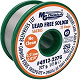 "MG Chemicals SAC305, 96.3% Tin, 0.7% Copper, 3% Silver, Lead Free Solder, No Clean.51mm, 0.02"" Dia."