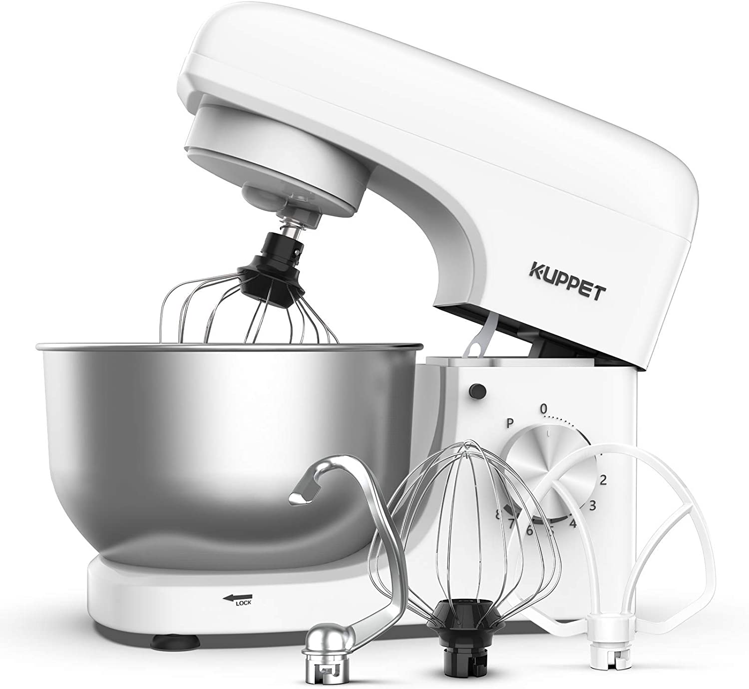 KUPPET Stand Mixer, 8-Speed Tilt-Head Electric Food Stand Mixer with Dough Hook, Wire Whip & Beater, Pouring Shield, 4.7QT Stainless Steel Bowl - White