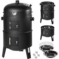 TecTake 3in1 BBQ Holzkohlegrill Barbecue Smoker Räuchertonne Räuchergrill mit Thermostat -diverse Modelle- (3 in 1 Räuchertonne)
