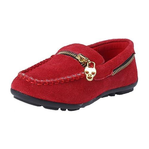 Damara Mocasines Planos con Adorno De Metal Zapatos para Niñas.Rojo.talla30: Amazon.es: Zapatos y complementos