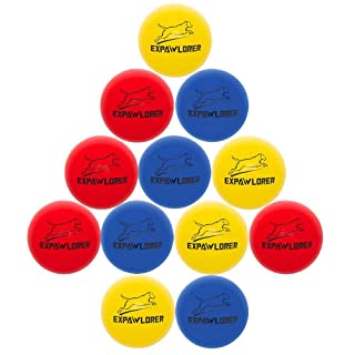 EXPAWLORER 12 Pack Dog Rubber Bouncy Balls Indestructible Chewing Toys Elastic Tennis Balls Durable Racquetball Toys for Small and Medium Dogs Red Yellow Blue