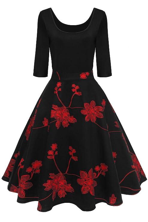 Axoe Damen A-Linie Kleid 60er Jahre Rockabilly mit Blumenrock 3/4 Ärmel Gr.36