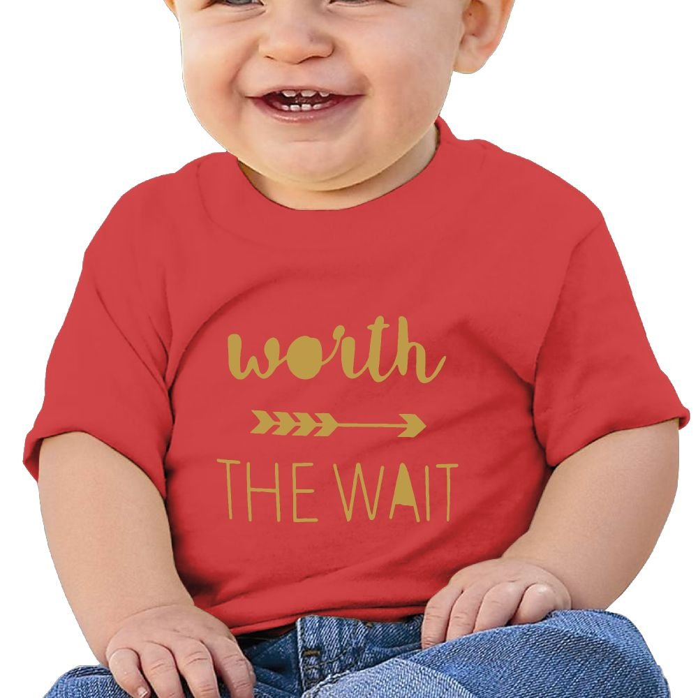 REBELN Worth The Wait Cotton Short Sleeve T Shirts for Baby Toddler Infant