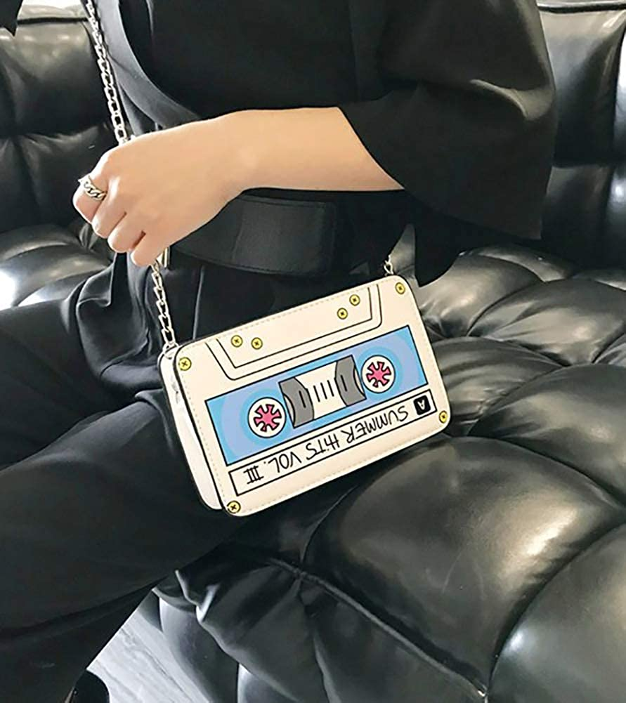 QZUnique Womens Elegant Tape Recorder Radio Shaped Shoulder Bag Clutch Crossbody Bag Purse Handbag