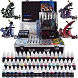 Solong Tattoo® Complete Tattoo Kit 4 Pro Machine Guns 54 Inks Power Supply Foot Pedal Needles Grips Tips Carry Case TK456