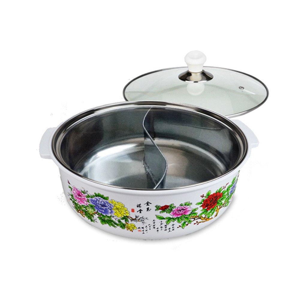 2つFlavorsホットポットfor Induction Cooker anti-scalding保護スリーブステンレススチールしゃぶ鍋 chufang0299  C B0796X9QDW