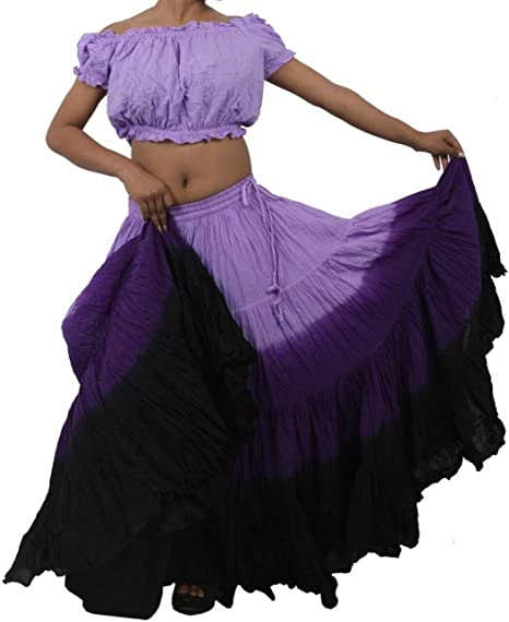 set di 2 pezzi Dancers World per danza del ventre ATS gonna e top in stile gitano Black Lilac Purple da 22,9 m in cotone