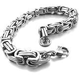 MunkiMix Acier Inoxydable Bracelet Poignet Lien Ton d'Argent Byzantin Homme