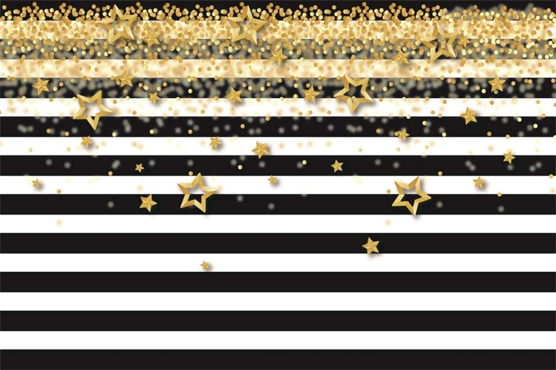 Amazon Com Csfoto 7x5ft Background Gold Stars Confetti Black And White Stripes Birthday Party Decor Photography Backdrop Baby Shower Party Banner Celebration Child Adult Photo Studio Props Polyester Wallpaper Camera