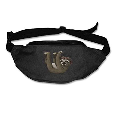 Unisex Pockets Sloth Fanny Pack Waist / Bum Bag Adjustable Belt Bags Running Cycling Fishing Sport Waist Bags Black