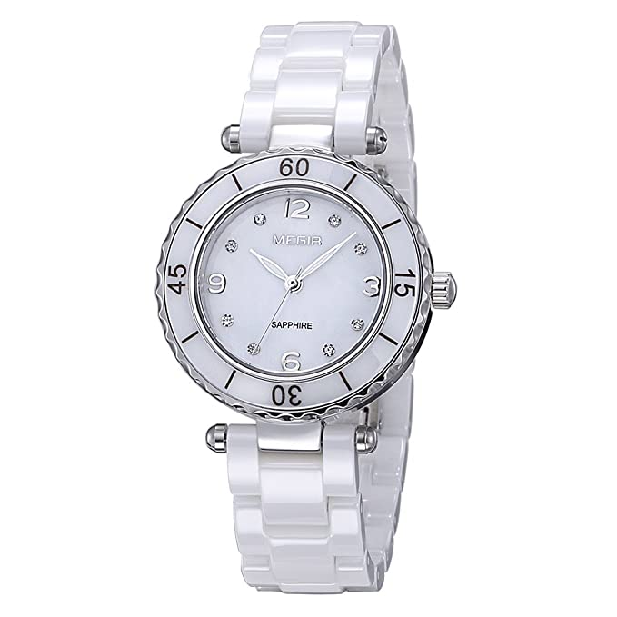 Amazon.com: Baogela Womens White Ceramic Elegant Diamond ...