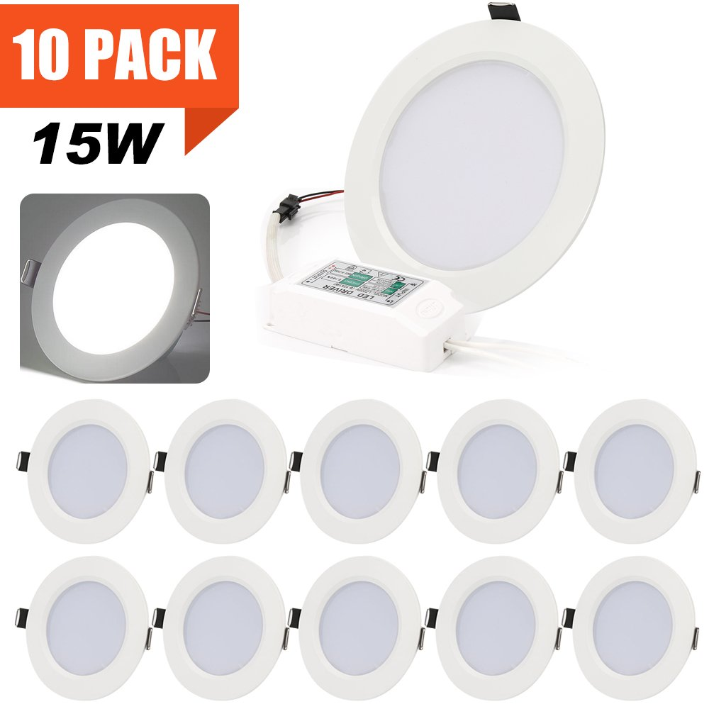 15W LED Panel Light Lamp, Dimmable Round Ultra-Thin LED Recessed Ceiling Light, 1200lm, Daylight White 6000K, Cut Hole:4.72Inch, Downlight with LED Driver for Home Office Commercial Lighting [10PACK]