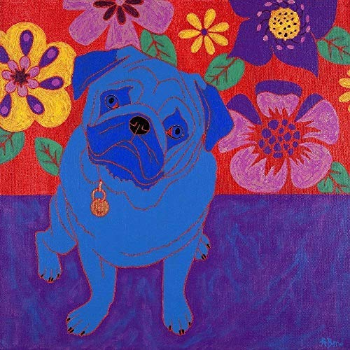 Coaster Pug (Pug Ceramic Tile Art Coaster, Dog Pop Art by Angela Bond Art)