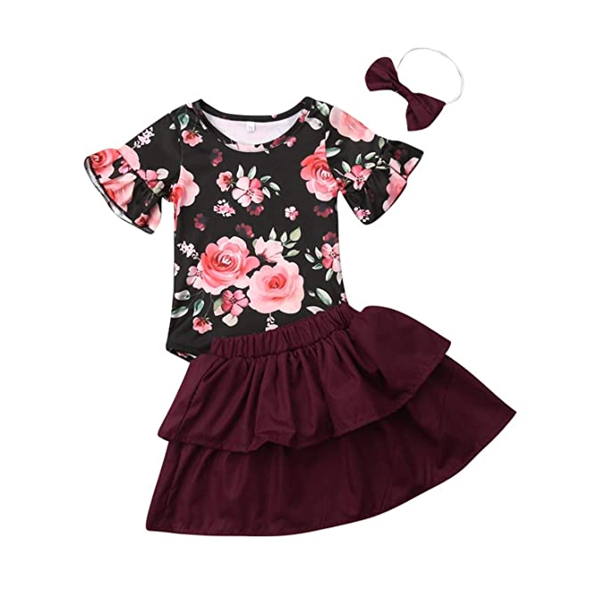d08d076e0489 Amazon.com  New Summer Baby Girls Floral Romper Short Sleeve Tops ...