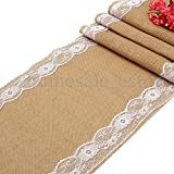 Hessian Vintage Burlap Table Runner White Flower Lace Natural Rustic Decor offers