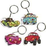 """Rayher Shrinking Foil Set """"Crazy Cars"""", 4 Motives with Key Ring, 8 Parts, Multicolour"""