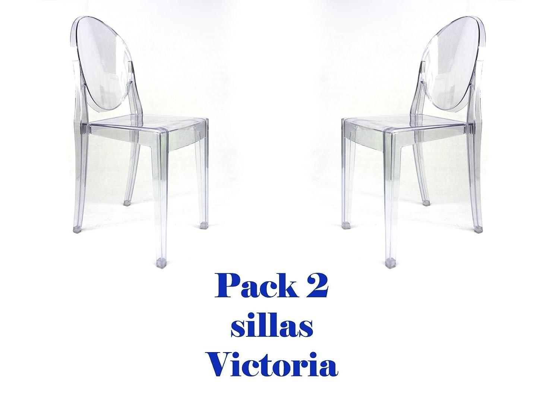 Pack de 2 sillas transparentes réplicas del modelo Victoria Ghost.