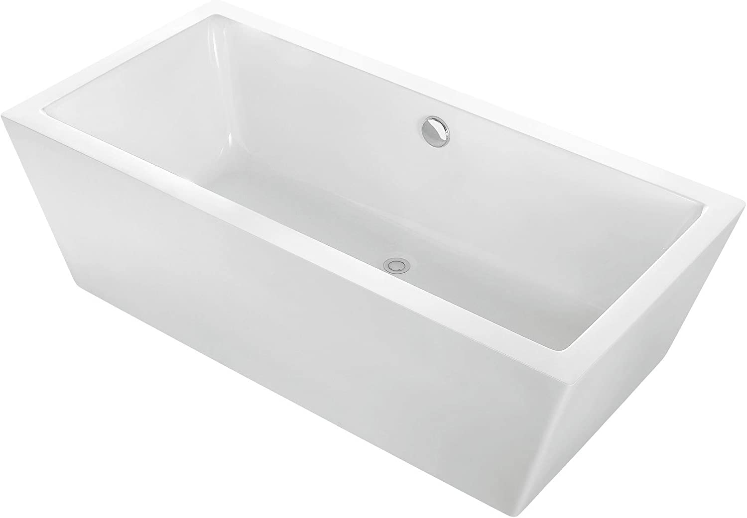 MAYKKE Alsen 60 Modern Rectangular Acrylic Freestanding Bathtub Sloped White Stand Alone Tub in Bathroom Shower, cUPC Certified, Drain and Overflow Assembly Included XDA1437001