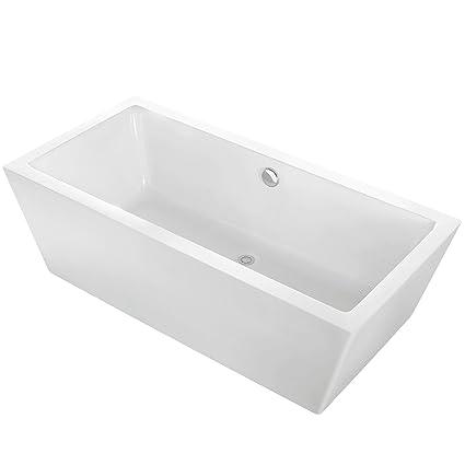 MAYKKE Alsen 60u0026quot; Modern Rectangular Acrylic Freestanding Bathtub  Sloped White Stand Alone Tub In Bathroom