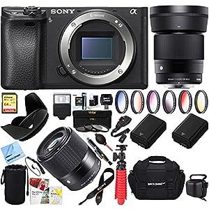 Sony a6500 4K Mirrorless Camera Body w/ APS-C Sensor Black (ILCE-6500/B) with Sigma 30mm F1.4 DC DN Lens Bundle