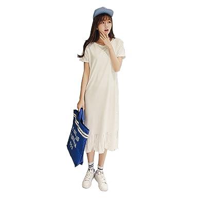 Homedecoam Damen Frauen Sommer Tassel Kleid Lang T-Shirt Weiß