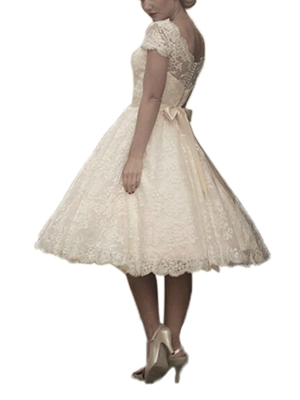 JAEDEN Robe de mari/ée Court Robe de Mariage Dentelle Robe Nuptiale Femme Manches Courte
