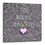 3dRose dpp_154442_1 10th Wedding Tin Bits Photo Celebrating 10 Years Together Tenth Anniversaries Wall Clock, 10 by 10-Inch