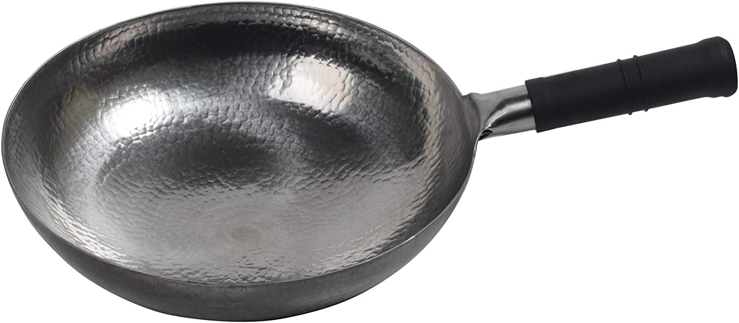 Mecete Wok pan 5th Generation, Traditional Hand Hammered Uncoated Carbon Steel Pow Wok total steel handle, Handle and wok in one piece(13.38 Inch, Round Bottom) 1.8 mm thickness FDA approved