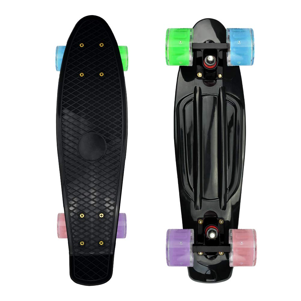 Complete 22inches Cruiser Skateboards for Beginners - Kids Skateboard Plastic Banana Board with Colorful LED Wheels 330Lbs for School and Travel