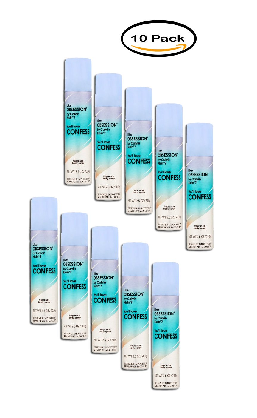 PACK OF 10 - Designer Imposters Confess Fragrance Body Spray, 2.5 oz