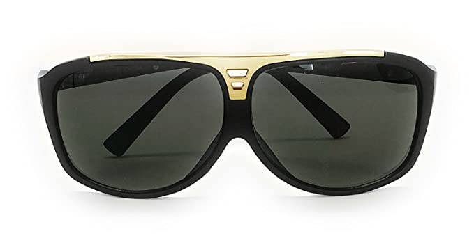 9015f0d1c Large Flat Top Aviator Sunglasses Metal Bridge Sport Racing Mens Fashion  (89063-Black-
