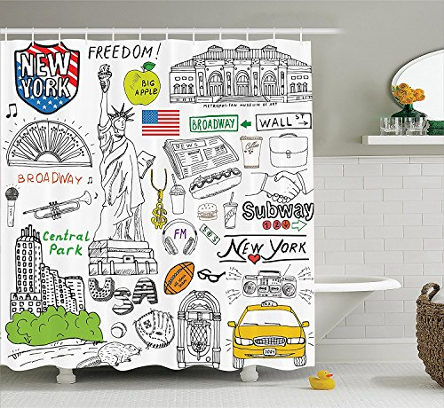 [American Decor Collection New York City Culture with Metropolitan Museum Broadway Crossroad Wall Street Sketch Style Polyester Fabric Bathroom Shower Curtain Set with Hooks] (Museum Of Country Life And Costume)