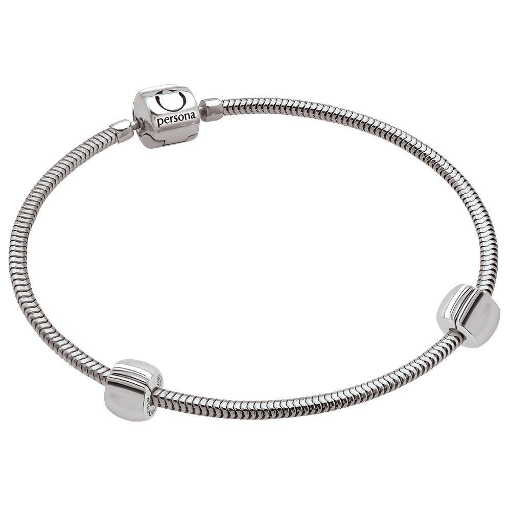 Persona's Medium Snake Chain Bracelet 925 Sterling Silver with Two of Persona's Classic Lock Beads
