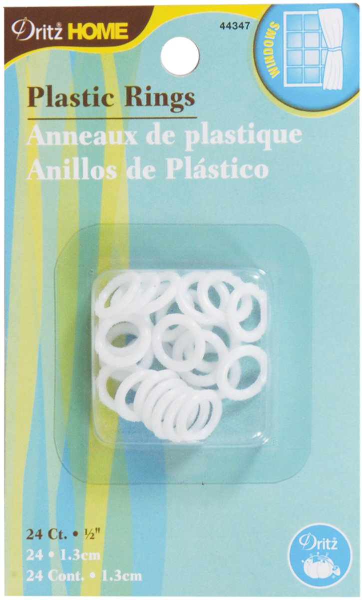 24-Piece 1//2-Inch Dritz Home 44339 Plastic Rings Clear