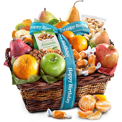 (Happy Birthday Orchard Delight Fruit and Gourmet Gift Basket)