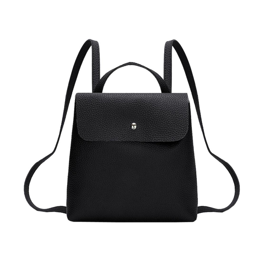 Clearance Sales!! ZOMUSAR Women Girl Pure Color School Bag Travel Cute PU Leather Mini Backpack Women Girl Pure Color School Bag Travel Cute PU Leather Mini Backpack (Black) by ZOMUSAR (Image #2)