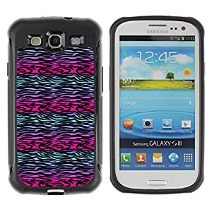 KROKK CASE Samsung Galaxy S3 I9300 - abstract zebra lines purple teal black - Rugged Armor Slim Protection Case Cover Shell