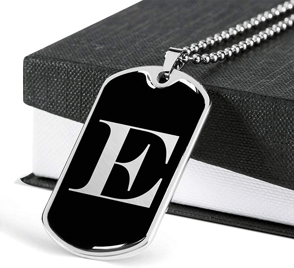 Luxury Dog Tag Necklace Personalized Name Gifts Initial E v2a