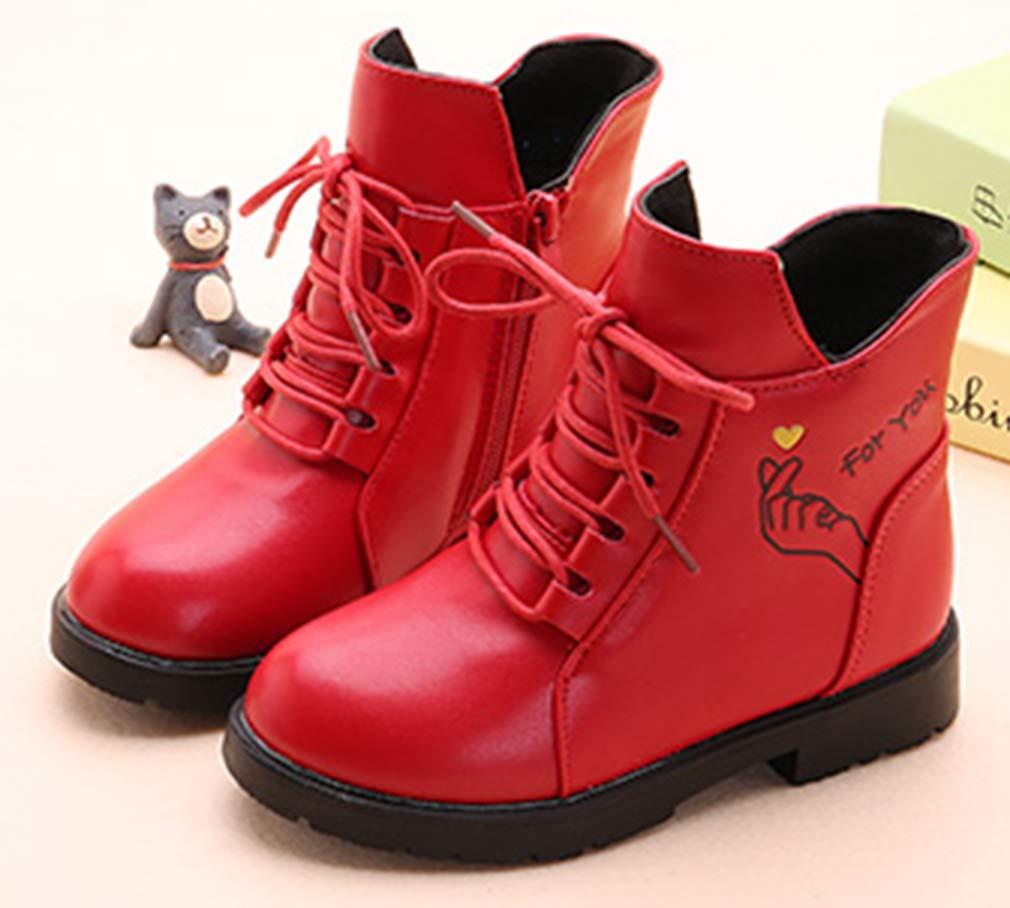 VECJUNIA Girl's Cartoon Ankle Martin Boots Zip Up Shoes School Uniform (Red, 2.5 M US Little Kid) by VECJUNIA (Image #2)