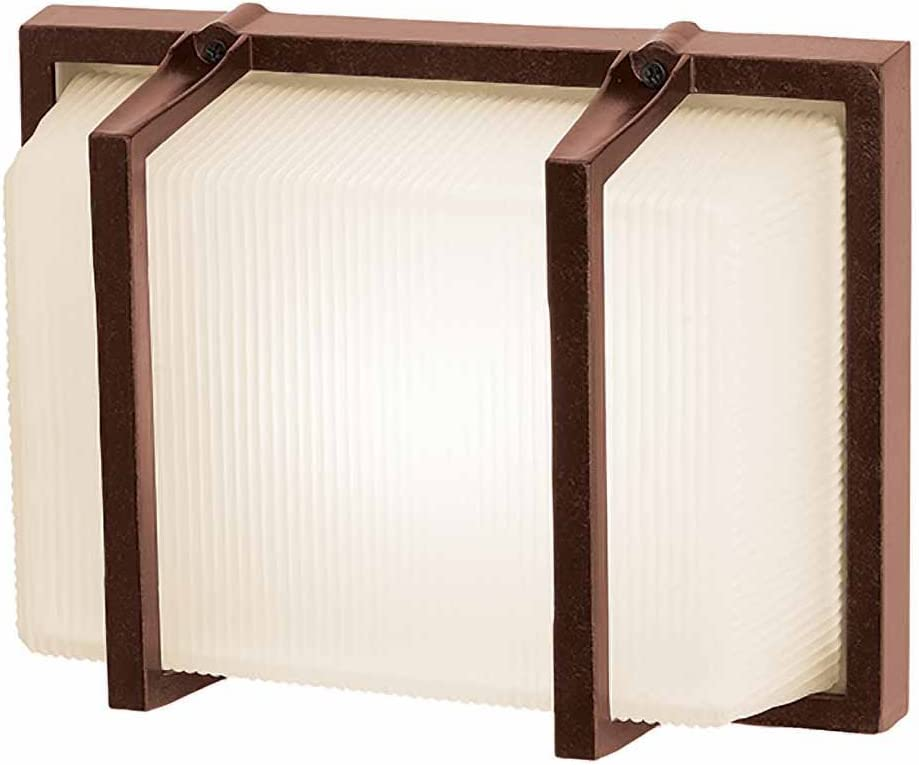 Neptune – Wet Location Wall Fixture – Bronze Finish – Ribbed Frosted Glass Shade